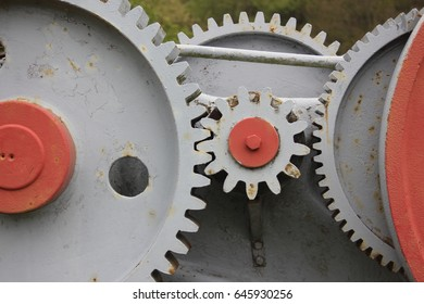 Close up of an old gear - Historic object