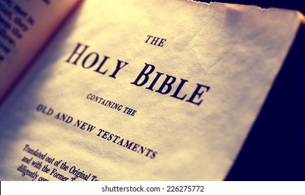 Close up Old Holy Bible