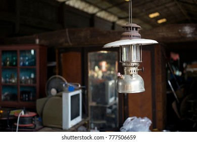 close up old lantern in vintage godown collection