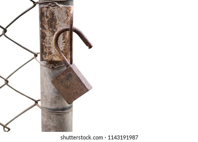 Close up of an old lock and a rusty chain on an iron gate isolated on white background