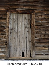 Close up of old log cabin door / Old Cabin Door / Close up of old log cabin door