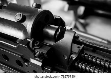 Close up old machine gun