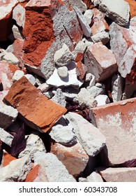 close up of an old pile of bricks