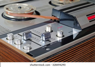 Close up of old reel to reel tape player and recorder