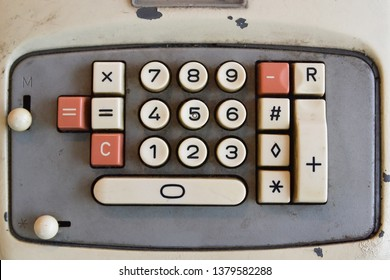 close up of old retro calculator