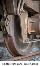 Close Up of a old rusty train wheel