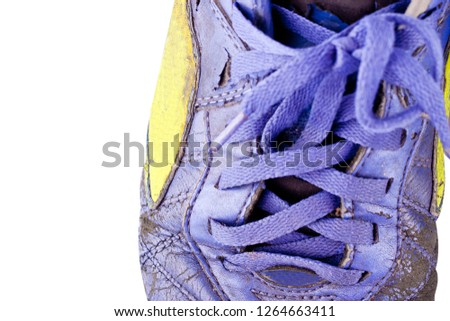 0e61dcde00e close up old shoelace futsal shoes on white background soccer sportware  object isolated