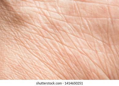 Nahaufnahme einer alten Hautstruktur mit Falten am menschlichen Körper