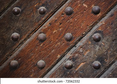 Close up of old strong wooden door
