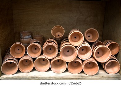 Close up of old terracotta plant pots