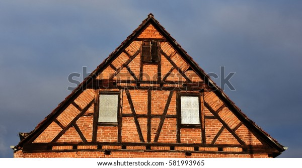 Close up of an old timbered house