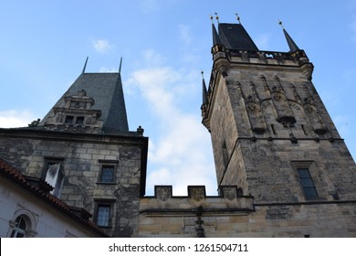 Close up of the Old Town bridge tower of the Charles Bridge, a gothic construction, designed by Peter Parler at the 14th centrury in Prague, Czech Republic