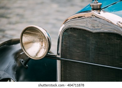 Close up of old vintage retro classic car