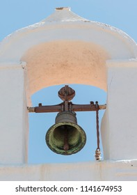 close up of the old white church bell