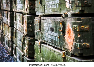 Close up the old wooden ammunition box.