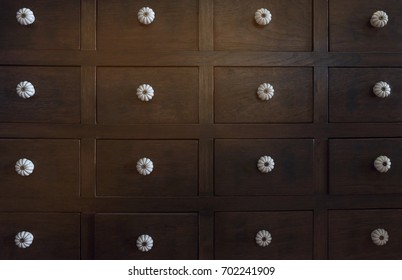 Close up of old wooden cabinet. Soft focus.
