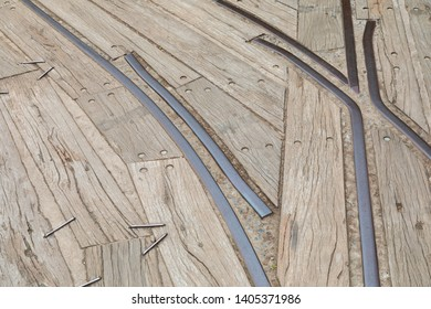 Close up old wooden sleeper texture on railway