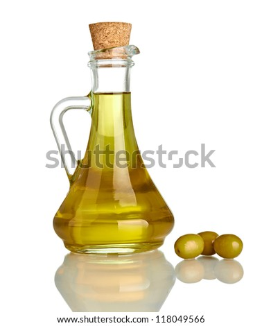 close up of olive oil on white background