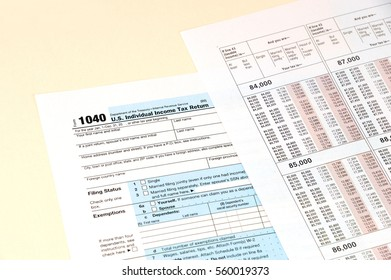 close up on 1040 tax form