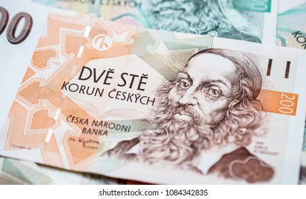 Close up on a 200 Czech koruna banknote