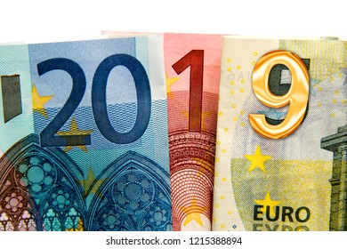 CLose up on 2019 written with euros bank notes