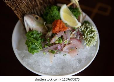 Close Up on Aji Mackerel Sashimi or Blue Runner or Horse Makerel Sashimi