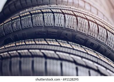 Close up on all season car tires