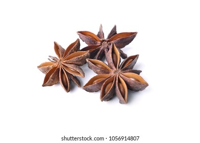 close on anise shape of star isolated on white background