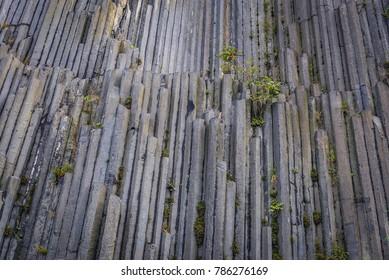 Close up on a basalt formation called Panska Skala in Kamenicky Senov city, Czech Republic