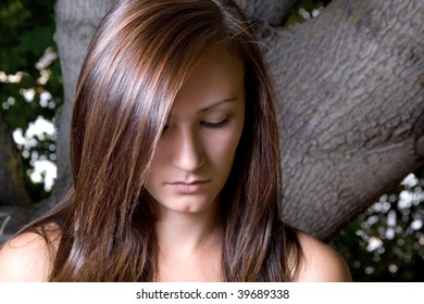 Close up on a Beautiful Depressed Teenager Posing