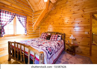 Close up on a Bedroom in a Log Cabin