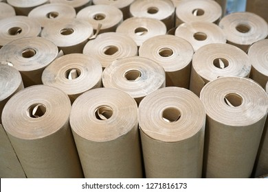 close up on brown paper rolls