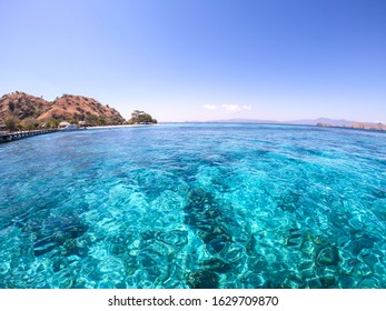 A close up on a calm surface of a sea with some islands in the back in Komodo National Park, Indonesia. The water is so clear that one can see the sea's bottom. Snorkelling spot