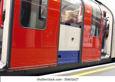 close up on a carriage of a underground train in london uk