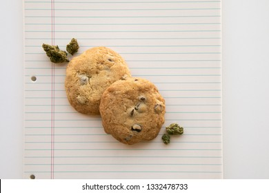Close Up on Chocolate Chip Cookies and Marijuana Buds on a Binder Paper Plate