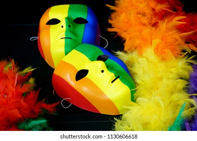 close up on colorful mask with rainbow color