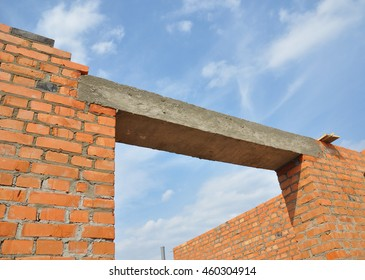 High Quality Close Up On Concrete Lintel. Window Or Door Concrete Lintel On Brick  Unfinished House Construction