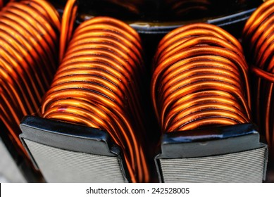 Close up on copper coil of the  transformer
