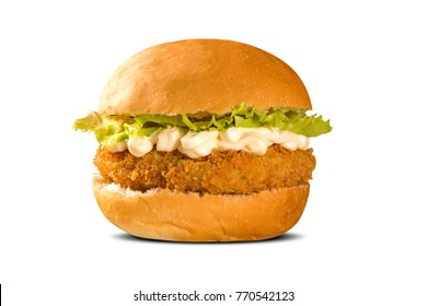 Close up on crispy chicken burger with lettuce and tomato.