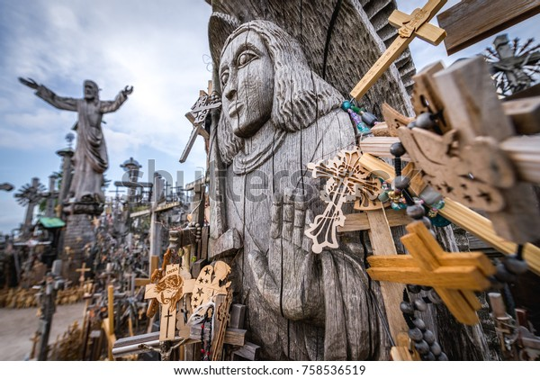 Close up on croos on pilgrimage site called Hill of Crosses, Lithuania