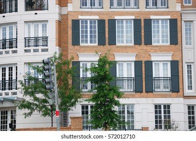 close up on facade view of apartment building