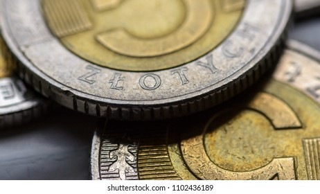 Close up on Five Polish Zloty A, Poland Coin Currency, Shallow Depth of Field Macro Photography