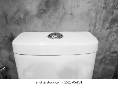 Close up on a flush toilet button for cleaning a toilet.