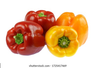 close up on fresh colorful peppers isolated on white background
