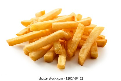 Close up on fresh potato French Fries or Pommes Frites served in a pile onn a white background suitable for a menu or takeaway advertising