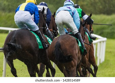 Close up on galloping race horses and jockeys in the rain, view from behind