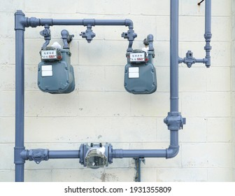 close up on gas meter and pipe installed