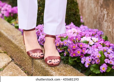 Close up on girls feet wearing brown sandals and flower in the background