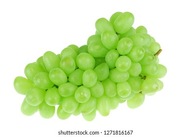 close up on green grape isolated on white background