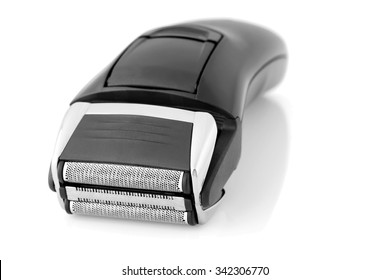 Close up on the head of an electric shaver.